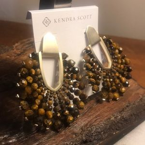 NWT Kendra Scott Tiger's Eye Bead Diane Earrings!